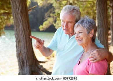 Senior couple at lake together