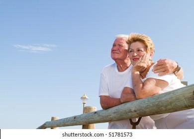senior couple looking away
