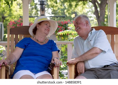 Senior couple looking at each other with trust and love