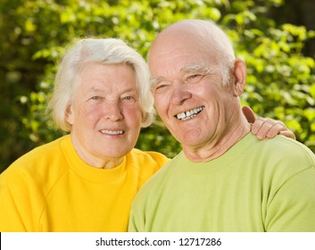 Senior couple in love outdoors