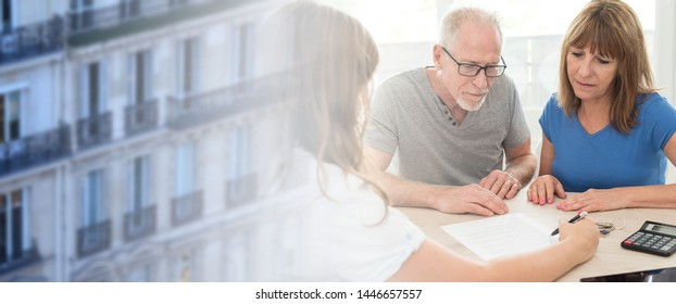 Senior couple meeting financial adviser for investment; multiple exposure