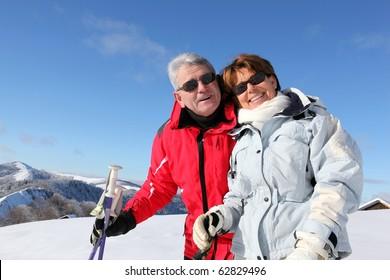 Senior couple at mountain