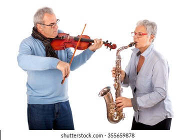 Senior couple with Music instruments, musicians playing saxophone and violin
