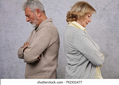 Senior Couple not talking after dispute,fighting. Family disagreement, stubbornness concept