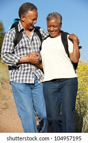 Senior   couple on country hike