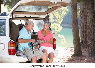 Senior couple on country picnic