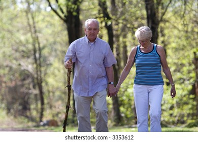Senior couple out for a walk on a summerday