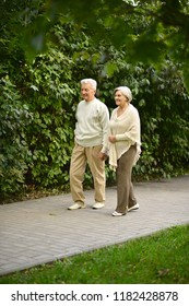 senior couple outdoors walking in the park