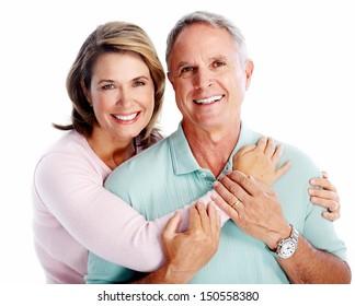 Senior couple portrait. Isolated on white background.