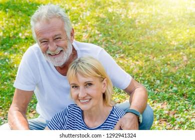 Senior couple portrait outdoor.