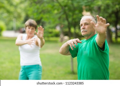 Senior couple practice Tai Chi Chuan in a park.  Chinese management skill Qi's energy.