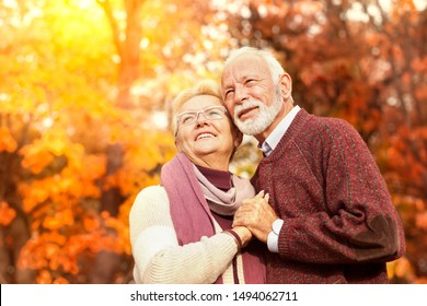 Senior couple relaxing in autumn landscape smiling and looking away