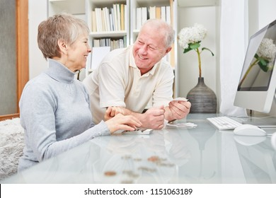 Senior couple of retirees  doing accounting at home