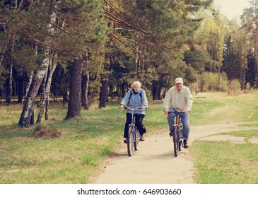 Senior couple riding bikes in nature