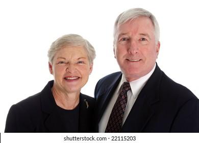 Senior Couple Set Against A White Background