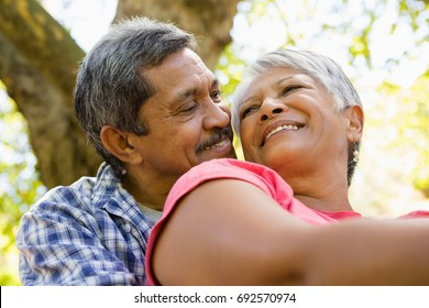Senior couple sitting in garden on a sunny day