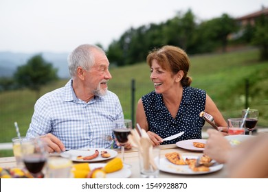 Senior couple sitting a t the table outdoors on family garden barbecue.