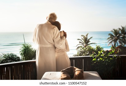 Senior couple at a spa