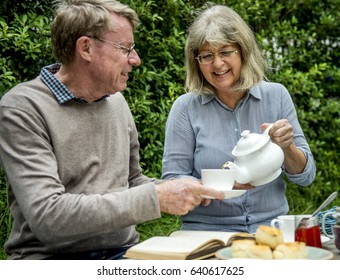Senior Couple Tea time Togetherness