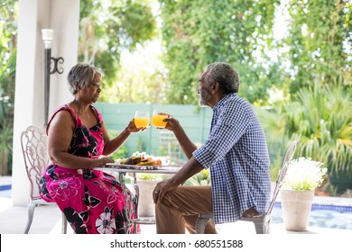Senior couple toasting drinking glasses while having breakfast at table in yard
