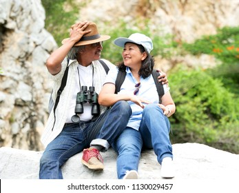 senior couple travel together on a summer vacation