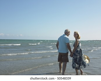Senior couple walking on tropical beach, back view