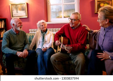 Senior couples enjoying in the good songs of their youth and having some fun