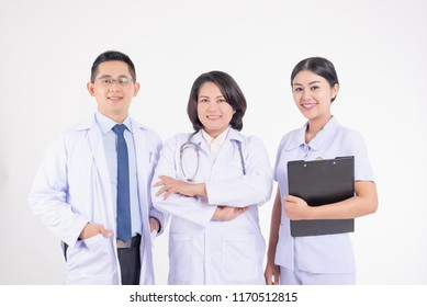 Senior doctor leads team of doctors and nurses,health professionals,on white background,medicine and healthcare concept
