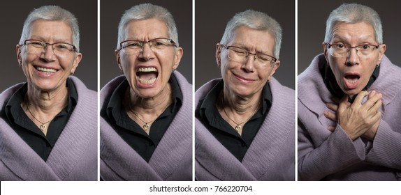 Senior elderly lady expressing different emotions: happiness, anger, sadness and fear