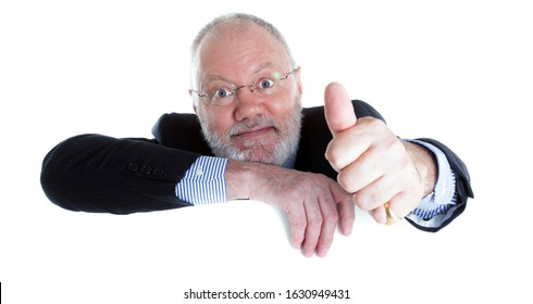 Senior elderly man as Lawyer Director Teacher or Salesman above empty board for copy space on white background