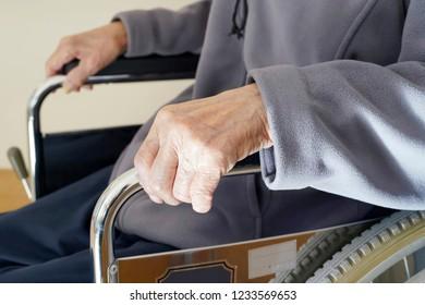 senior or elderly man patient on wheelchair at home