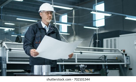 Senior engineer in hardhat is standing in a factory and looking at a blueprint.