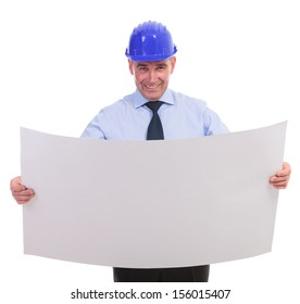 senior engineer holding a spread project and smiling for the camera. isolated on white background