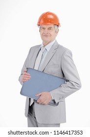 senior engineer with a laptop isolated on a white