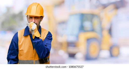Senior engineer man, construction worker sick and coughing, suffering asthma or bronchitis, medicine concept at work