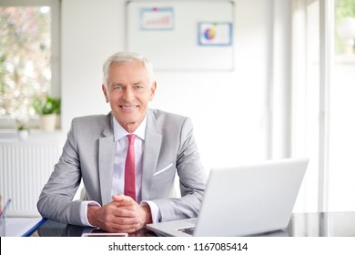 Senior executive businessman sitting at office desk in front of laptop and working on new project.