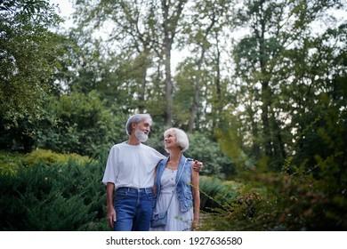 Senior family couple walking together at summer park.