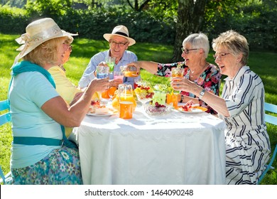 Senior family members picnicking, sitting around the table, drinking orange juice and eating fruit cake, one woman is serving juice to four friends.