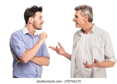 Senior father with adult son talking, isolated white background.