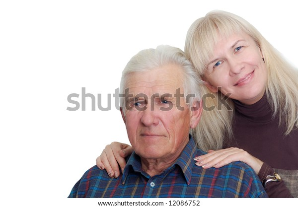 senior father with his daughter. isolated on white