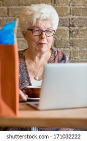 Senior female customer using laptop in rustic cafe