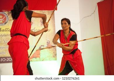 A senior female kalari artist performs at the 'Parashurama Vallabhatta Kalari Academy event' held on October 19,2018 at the Prajna Ranga Hall,Bengaluru