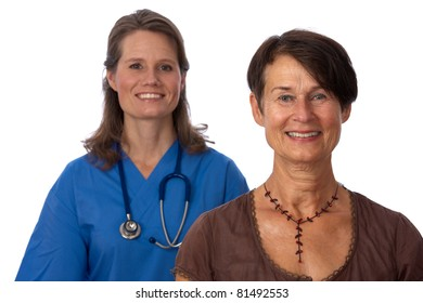 Senior, female patient with young trustworthy doctor in background