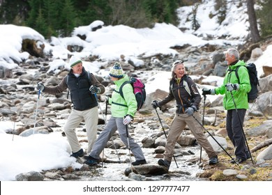 Senior friends on winter vacation hiking over stream in snowy forest