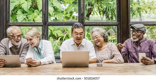 Senior Friends Relax Lifestyle Dining Concept