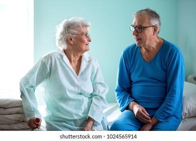 Senior friendship at nursing home, senior people talking and having fun