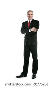 senior full length businessman posing stand isolated on white