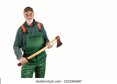 Senior, funny lumberjack holds his ax in both hands and laughs nicely into the camera in front of a white background.