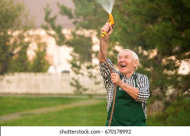 Senior gardener with water hose. Old man having fun. Let it rain.