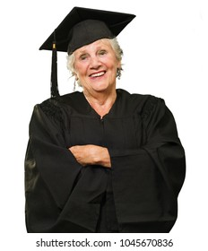Senior Graduate Woman With Hands Folded On White Background